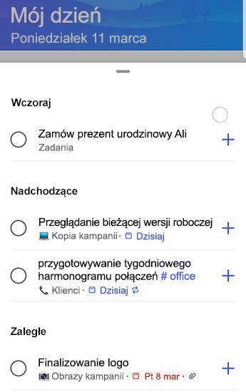 Zrzut ekranu przedstawiający zadanie do wykonania w systemie Android z sugestiami w pełni otwartymi i pogrupowanymi według wczoraj, nadChodzących i zaległych.