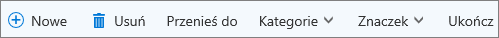 Pasek poleceń Zadania dla usługi Outlook.com
