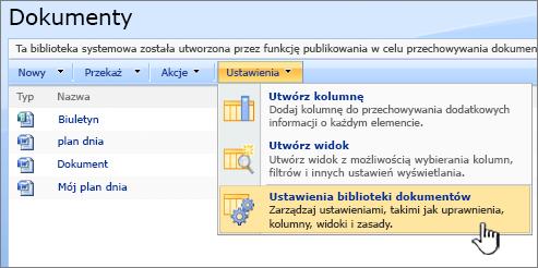 Wybieranie opcji Ustawienia biblioteki dokumentów z menu Ustawienia