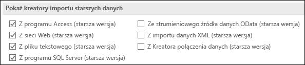 Obraz opcji pobierania i przekształcania kreatora starsza wersja z pliku > Opcje > danych.