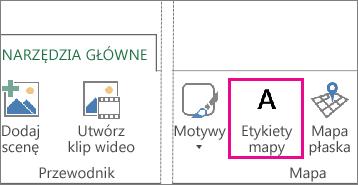 Przycisk Etykiety mapy na karcie Narzędzia główne dodatku Power Map