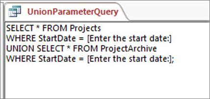 Dwuczęściowe zapytanie składające zawierające następującą klauzulę w obu częściach: WHERE DataRozpoczęcia = [Wprowadź datę rozpoczęcia:]