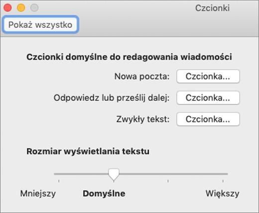 Okno dialogowe Czcionki