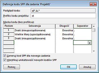 Obraz okna dialogowego Definicja kodu SPP