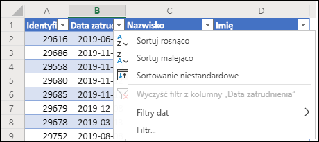 Sortowanie w kolejności rosnącej lub malejącej za pomocą filtru tabeli w programie Excel
