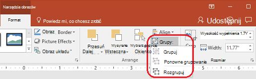 Polecenie Rozgrupuj na karcie Formatowanie na wstążce programu PowerPoint w obszarze Narzędzia obrazów.