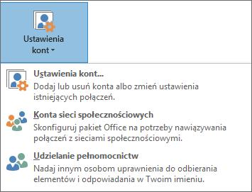 Zrzut ekranu: dodawanie pełnomocnika w programie Outlook