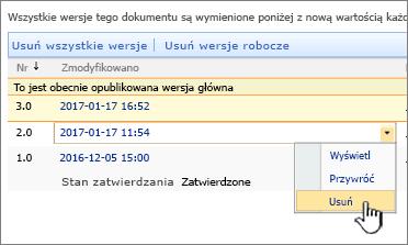 Lista rozwijana przechowywania wersji pliku z wyróżnioną opcją Usuń