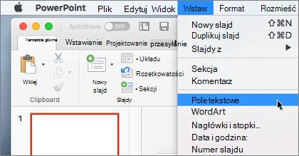 Element pola tekstowego w menu Wstaw