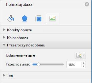 Dostosowywanie przezroczystości koloru w okienku Formatowanie obrazu