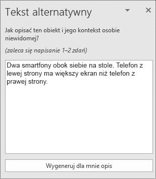 Okno dialogowe tekst alternatywny w aplikacji PowerPoint Online.