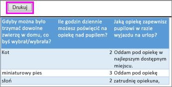 Wydrukuj Podgląd pytań i odpowiedzi ankiety