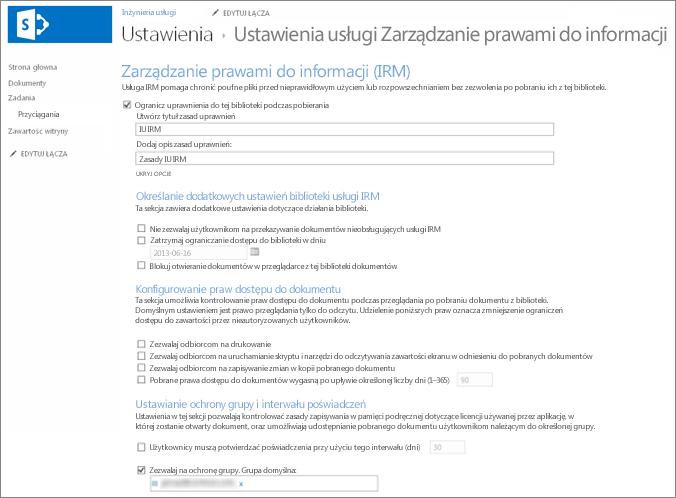 Ustawienia usługi Zarządzanie prawami do informacji (IRM)