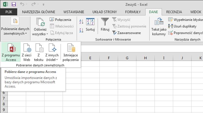 Importowanie danych z programu Access z małą wstążką