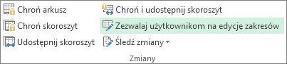 Przycisk Zezwalaj użytkownikom na edycję zakresów