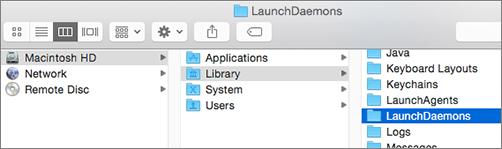 Przechodzenie do folderu Biblioteki, a następnie do folderu LaunchDaemons