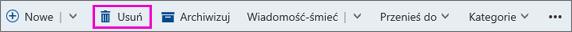 Przycisk Usuń na wstążce w programie Outlook