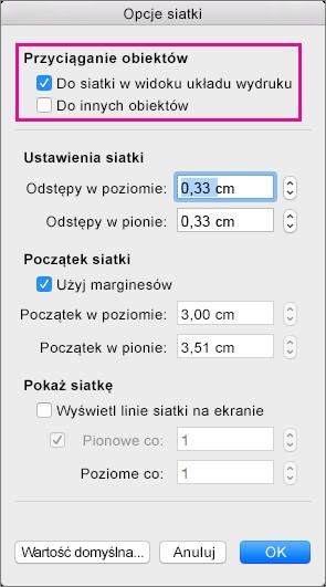 Ustawianie opcji przyciągania i miar siatki w obszarze Opcje siatki.