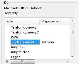 Wartość Tel. kom. zamapowana na pole Telefon komórkowy programu Outlook