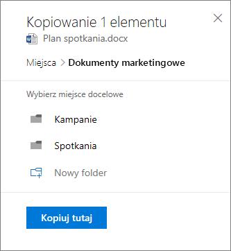 Zrzut ekranu przedstawiający wybieranie lokalizacji podczas kopiowania pliku do programu SharePoint.
