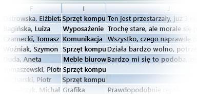 Tabela programu Excel z importowanymi danymi