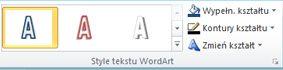 Grupa Style tekstu WordArt w programie Publisher 2010