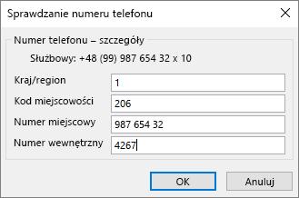 W programie Outlook, na karcie Kontakt w obszarze numery telefonów wybierz odpowiednią opcję, a zaktualizować okno dialogowe Sprawdzanie numeru telefonu, stosownie do potrzeb.