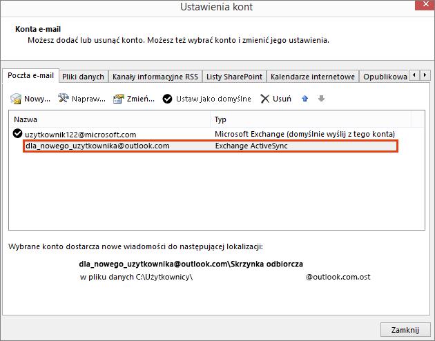 Ustawienia konta w programie Outlook, Konta e-mail
