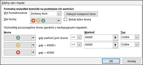 Formatowanie warunkowe: okno dialogowe opcji zestawu ikon