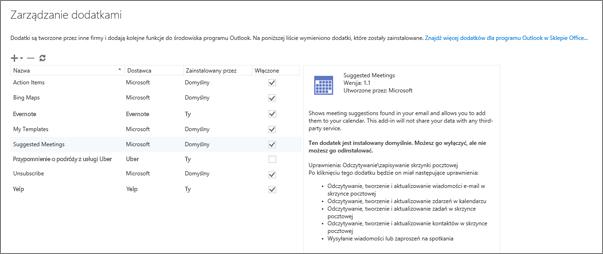 """Zrzut ekranu przedstawiający okno """"Zarządzanie dodatkami"""", gdzie można dodawać i usuwać dodatki, wyświetlać informacje o dodatku, a także przejść do Sklepu Office, aby znaleźć więcej dodatków dla programu Outlook. Zaznaczony dodatek Sugerowane spotkania wraz z wyświetlonymi informacjami na jego temat."""