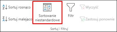 Niestandardowe opcje sortowania w programie Excel na karcie Dane