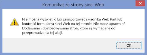 Komunikat o błędzie wyświetlany po wyłączeniu skryptów w witrynie lub zbiorze witryn