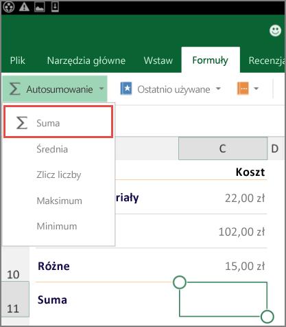Menu dostępu do wstążki w aplikacji Excel dla systemu Android