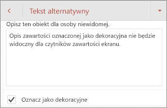 Oznacz jako dekoracyjne zaznaczone w oknie dialogowym tekst alternatywny w programie PowerPoint dla systemu Android.