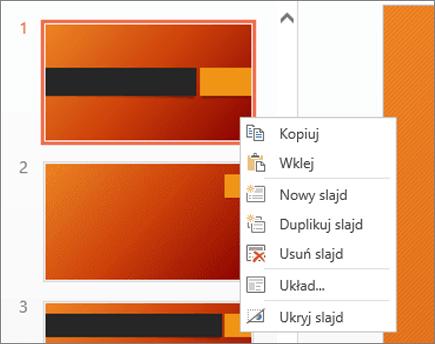 Menu wyświetlane po kliknięciu slajdu prawym przyciskiem myszy