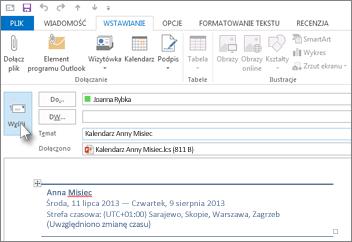 Wysyłanie kalendarza pocztą e-mail do współpracownika