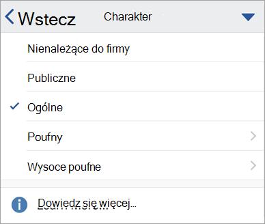 Zrzut ekranu przedstawiający etykiety wrażliwości w psłudze Office dla systemu iOS