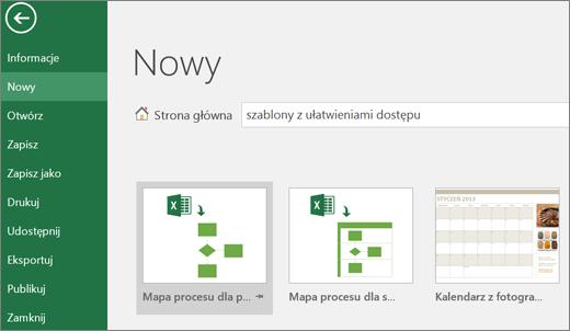 Wycinek ekranu przedstawiający interfejs użytkownika programu Excel z polem wyszukiwania, w którym wpisano tekst dotyczący szablonów z ułatwieniami dostępu oraz wyniki tego wyszukiwania.