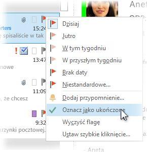 Polecenie Oznacz jako ukończone wyświetlane po kliknięciu prawym przyciskiem myszy na liście wiadomości