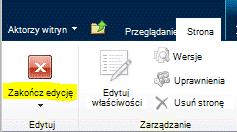 Przycisk Zakończ edycję na karcie Strona
