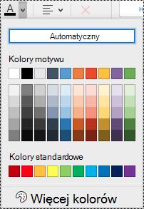 Menu rozwijane koloru czcionki w programie OneNote dla komputerów Mac.