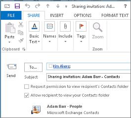 Wersja robocza zaproszenia do udostępniania kontaktów wewnątrz organizacji