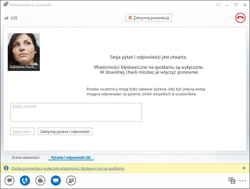 Zrzut ekranu: okno Menedżera pytań i odpowiedzi