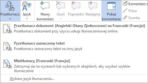 Tłumaczenie dokumentu lub wiadomości