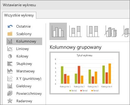 Wybór wykresów kolumnowych w programie PowerPoint