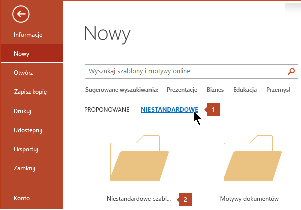 W obszarze Plik > Nowy, kliknij pozycję niestandardowy, a następnie niestandardowe szablony pakietu Office.