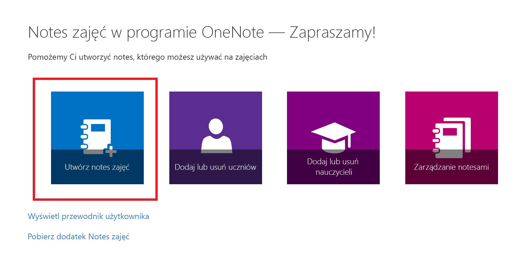 Zrzut ekranu przedstawiający stronę powitalną aplikacji Notes zajęć.