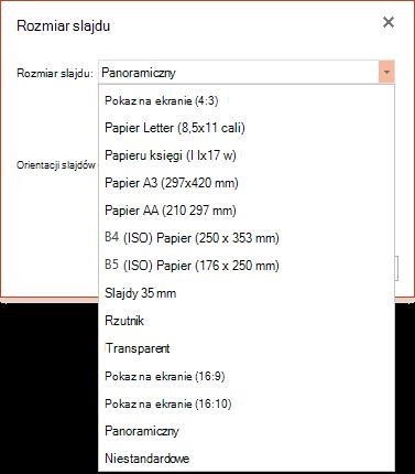 Opcje rozmiaru slajdu w aplikacji PowerPoint Online