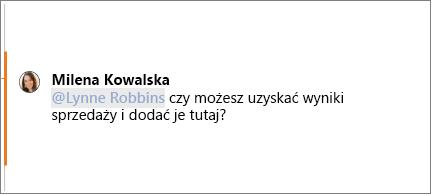 Komentarz ze @wzmiankowaną w nim osobą