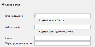 Wprowadzanie adresu e-mail i hasła programu Exchange